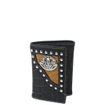 BLACK SKULL CROCODILE LEATHERETTE LOOK TRIFOLD WALLET MW3-0409BLK