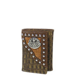 BROWN SKULL CROCODILE LEATHERETTE LOOK TRIFOLD WALLET MW3-0409BRN