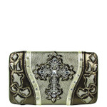 SILVER WESTERN LASER CUT CROSS DESIGN FLAT THICK WALLET FW2-0401SLV