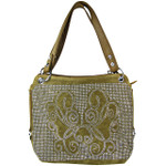 TAN STUDDED DESIGN LOOK SHOULDER HANDBAG HB1-61272TAN