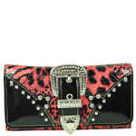HOT PINK STUDDED RHINESTONE LEOPARD BUCKLE LOOK DESIGN CHECKBOOK WALLET CB1-1284HPK