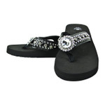 BLACK FLOWER RHINESTONE FASHION FLIP FLOP FF1-S061-1BLK