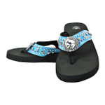 BLUE FLOWER RHINESTONE FASHION FLIP FLOP FF1-S061-1BLU
