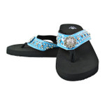 BLUE RHINESTONE FLOWER FASHION FLIP FLOP FF1-S062-1BLU