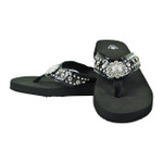BLACK RHINESTONE FLOWER FASHION FLIP FLOP FF1-S062-1BLK