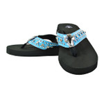 BLUE RHINESTONE CROSS FASHION FLIP FLOP FF1-S063-1BLU