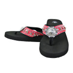 HOT PINK RHINESTONE FLOWER FASHION FLIP FLOP FF1-S064-1HPK
