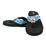 BLUE RHINESTONE FLOWER FASHION FLIP FLOP FF1-S064-1BLU