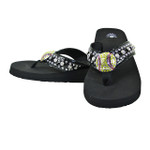 BLACK WITH YELLOW RHINESTONE BASEBALL FASHION FLIP FLOP FF1-S065-1BLK
