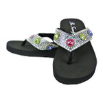 MULTI COLORED FULL RHINESTONE FASHION FLIP FLOP FF1-F107MLT