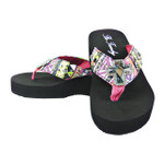 HOT PINK TRIBAL WITH RHINESTONE CROSS FASHION FLIP FLOP FF1-F109HPK