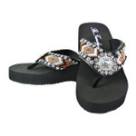 BLACK TRIBAL WITH RHINESTONE FLOWER FASHION FLIP FLOP FF1-F119BLK