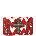 RED CHEVRON STUDDED RHINESTONE CROSS LOOK FLAT THICK WALLET FW2-04123RED