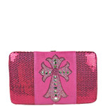 HOT PINK SEQUENCE RHINESTONE CROSS LOOK FLAT THICK WALLET FW2-04129HPK