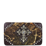 BROWN MOSSY CAMO STUDDED RHINESTONE CROSS WITH WINGS LOOK FLAT THICK WALLET FW2-04132BRN