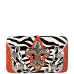 ORANGE ZEBRA STUDDED RHINESTONE FLUER DE LIS LOOK FLAT THICK WALLET FW2-12131ORG