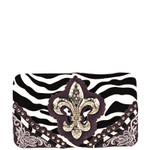 PURPLE ZEBRA STUDDED RHINESTONE FLUER DE LIS WITH FLOWER STITCHING LOOK FLAT THICK WALLET FW2-12132PPL