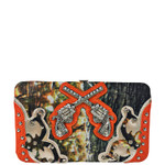 ORANGE MOSSY CAME RHINESTONE PISTOLS LOOK FLAT THICK WALLET FW2-12134ORG