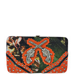 ORANGE MOSSY CAME RHINESTONE PISTOLS LOOK FLAT THICK WALLET FW2-12135ORG