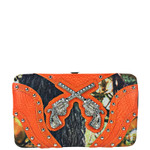 ORANGE MOSSY CAME RHINESTONE PISTOLS LOOK FLAT THICK WALLET FW2-12136ORG