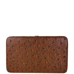 BROWN OSTRICH LEATHERETTE LOOK FLAT THICK WALLET FW2-3608BRN