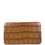 BROWN CROCODILE LEATHERETTE LOOK FLAT THICK WALLET FW2-3609BRN