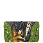 GREEN MOSSY CAMO STUDDED LOOK FLAT THICK WALLET FW2-3612GRN