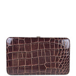 BROWN CROCODILE LEATHERETTE LOOK FLAT THICK WALLET FW2-3616BRN