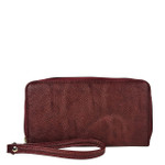 RED PLAIN LEATHERETTE LOOK ZIPPER WALLET CB3-1221RED