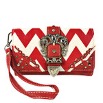 RED CHEVRON RHINESTONE BUCKLE LOOK CLUTCH TRIFOLD WALLET CW1-1291RED