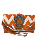 ORANGE CHEVRON RHINESTONE BUCKLE LOOK CLUTCH TRIFOLD WALLET CW1-1291ORG