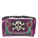 PURPLE GLITTER SKULL LOOK CLUTCH TRIFOLD WALLET CW1-1293PPL