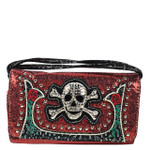 RED GLITTER SKULL LOOK CLUTCH TRIFOLD WALLET CW1-1293RED