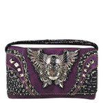 PURPLE RHINESTONE STUDDED SKULL WITH WINGS LOOK CLUTCH TRIFOLD WALLET CW1-1292PPL