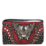 RED RHINESTONE STUDDED SKULL WITH WINGS LOOK CLUTCH TRIFOLD WALLET CW1-1292RED