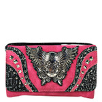 HOT PINK RHINESTONE STUDDED SKULL WITH WINGS LOOK CLUTCH TRIFOLD WALLET CW1-1292HPK