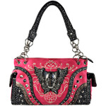 HOT PINK RHINESTONE STUDDED SKULL WITH WINGS LOOK SHOULDER HANDBAG HB1-KW22WHPK