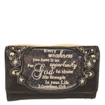 GRAY BIBLE LIFE QUOTE RHINESTONE STUDDED LOOK CLUTCH TRIFOLD WALLET CW1-1295GRY