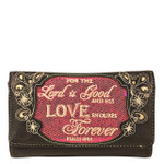 HOT PINK BIBLE LOVE QUOTE RHINESTONE STUDDED LOOK CLUTCH TRIFOLD WALLET CW1-1294HPK