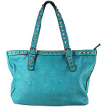 TURQUOISE STUDDED LEATHERETTE LOOK SHOULDER HANDBAG WITH MESSENGER BAG HB1-HC0068TRQ