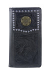 BLACK VEGAN TOOLED LEATHER .38 BULLET METAL EMBLEM MENS RODEO LONG BIFOLD WALLET WEST WOLF X-2246-2BLK
