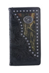 BLACK VEGAN TOOLED LEATHER CAMO LONGHORN METAL EMBLEM MENS RODEO LONG BIFOLD WALLET WEST WOLF X-2245-6BLK