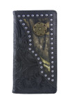 BLACK VEGAN TOOLED LEATHER CAMO .38 BULLET METAL EMBLEM MENS RODEO LONG BIFOLD WALLET WEST WOLF X-2245-2BLK