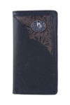BLACK VEGAN LEATHER WOLF METAL EMBLEM MENS RODEO LONG BIFOLD WALLET WEST WOLF X-2253-4BLK