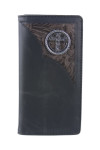 BLACK VEGAN LEATHER CROSS METAL EMBLEM MENS RODEO LONG BIFOLD WALLET WEST WOLF X-2253-9BLK