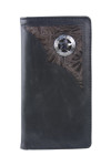 BLACK VEGAN LEATHER STAR METAL EMBLEM MENS RODEO LONG BIFOLD WALLET WEST WOLF X-2253-12BLK