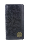 BLACK VEGAN TOOLED LEATHER 12 GAUGE METAL EMBLEM LOGO MENS RODEO LONG BIFOLD WALLET WEST WOLF X-2251BLK