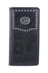 BLACK VEGAN TOOLED LEATHER PRAYING COWBOY METAL EMBLEM MENS RODEO LONG BIFOLD WALLET WEST WOLF X-2246-7BLK
