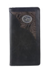 BLACK VEGAN LEATHER PRAYING COWBOY METAL EMBLEM MENS RODEO LONG BIFOLD WALLET WEST WOLF X-2253-7BLK