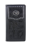 BLACK VEGAN TOOLED LEATHER SCORPION METAL EMBLEM MENS RODEO LONG BIFOLD WALLET WEST WOLF X-2246-3BLK